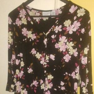 Colorful black womens long sleeve top/blouse